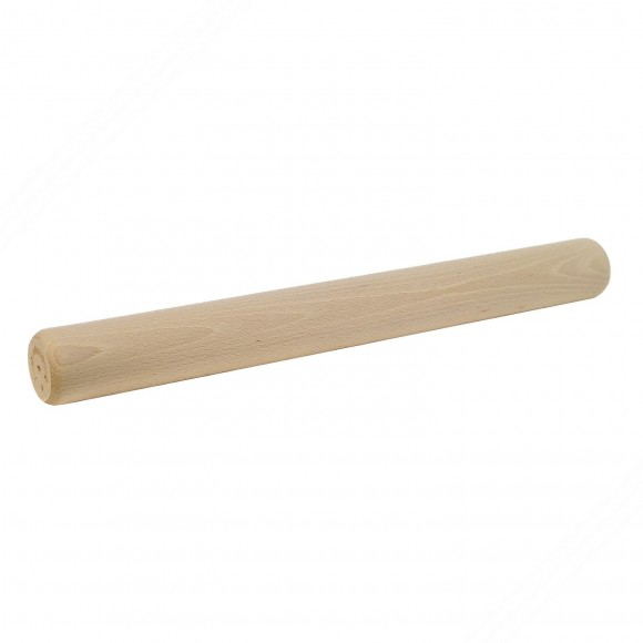 Beech wood rolling pin without handles for rolling out pasta dough, pizza or desserts. Length cm 43