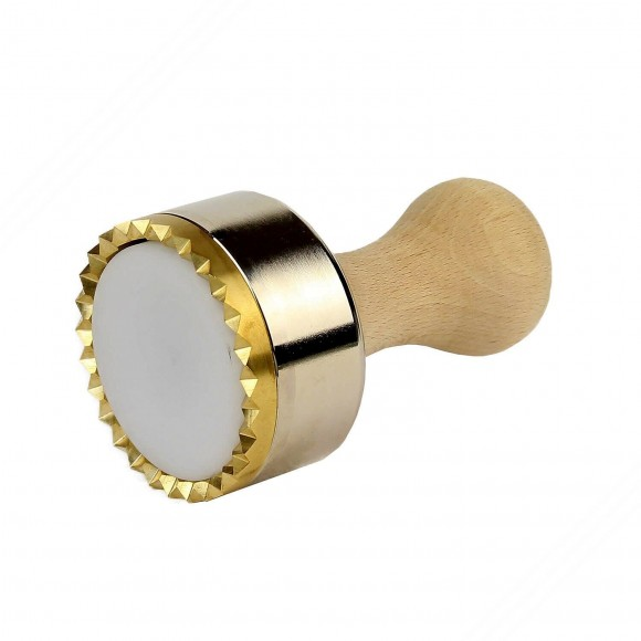 Round mold in aluminum and brass ravioli cutter with automatic ejector - Diameter of 65mm