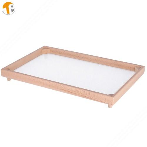 Vassoio rettangolare secca e asciuga pasta fresca in legno di faggio. Dimensioni 32x48 cm