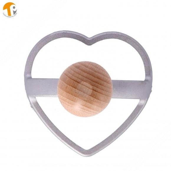 Stampo taglia ravioli in alluminio a forma di cuore - Diametro 85 mm