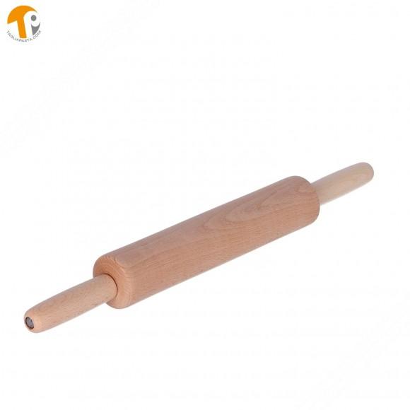 Mattarello girevole in legno per pasta fresca con doppia impugnatura. Lungo 40 cm