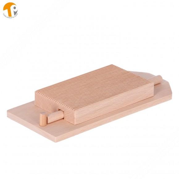 Tagliere in legno riga garganelli e gnocchi con base