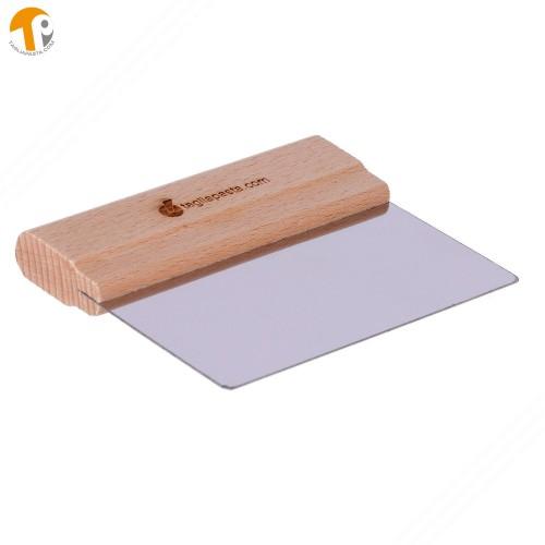 Spatola per pulizia tagliere con lama in acciaio di 140 mm manico in legno