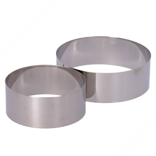 2 Round Stainless Steel Cooking Rings. Diameters: 120 and 150 mm. Height: 50 mm.
